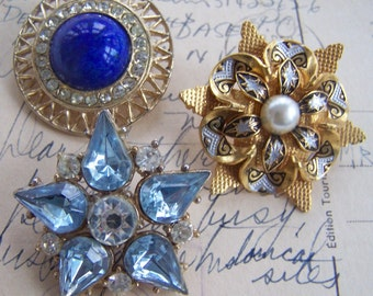 Vintage Rhinestone jewelry brooches Damascene Blue Pearl collection of pins three pieces