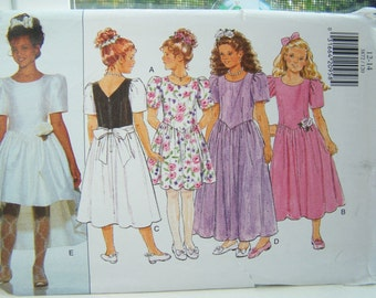 SALE Butterick 3872 Girl's Sewing Pattern Flared Skirt Special Occasion Dress, Easy Formal Party Dress, Girl's Bridal Dress, Princess Gown