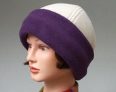 Lush Fleece Hat for Women, Plum Cuff and Winter White, Premium Quality M to L