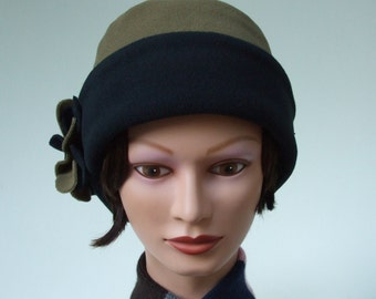 Fleece Hat for Women, Soft Winter Chemo Hat, Micro Fleece Hat, Khaki and Black, Reversible with Flowers (pin on), Medium