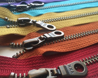 Metal Teeth Zippers- 12 Inch YKK Antique Brass Donut Pull Number 5s-  6 pc Jewel Tones Sampler Pack- red, rust orange, gold, blue and purple