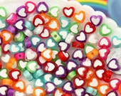 Heart Beads - 8mm Tiny Plastic Double Heart Colorful Resin or Acrylic Beads, mixed color, small size beads - 100 pc set