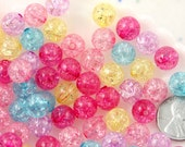 Pastel Beads - 10mm Lovely Small Pastel Color Crackle Plastic or Acrylic or Resin Beads – 100 pc set