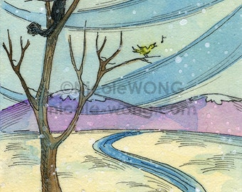 Original ACEO Painting -- Winterland