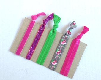 Rosebud Elastic Hair Ties 2 / No Crease Hair Ties / Ponytail Holder / Stocking Stuffers / FOE Elastic / Yoga Hair Ties / Elastic Hair Ties