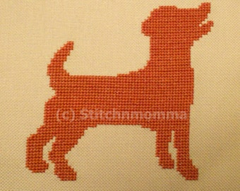 14018 Jack Russell Dog Silhouette - Original Design Cross Stitch PDF Pattern - DIGITAL DOWNLOAD