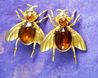 Vintage Coro brooch Set of TWO Signed pegasus Adolph Katz Jelly Belly  Insect fly Pins duette