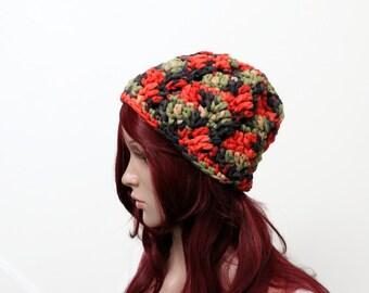 Autum Palette Textural Slouch Hat - in Cotton Acrylic Blend