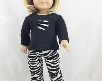 "Made For American Girl Other 18"" Dolls 2 Piece Set Black Knit With Heart T Shirt Corduroy Zebra Print Pants"