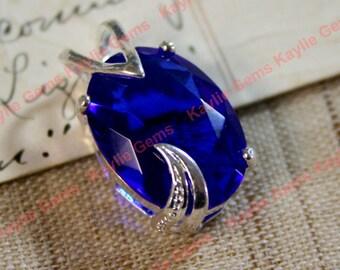 18x13mm Oval Sapphire Blue Glass Jewel in Silver Fancy Setting Pendant - 1 pc