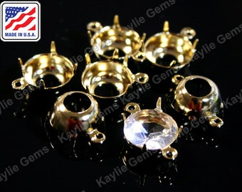 24K Pure Gold Plated 8mm Round Prong Setting Open Back 1 Ring 2 Ring, Made in the USA- 8pcs
