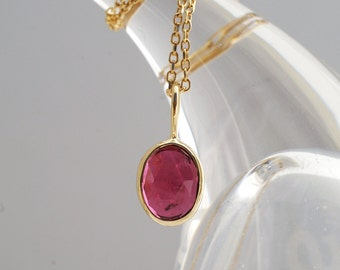 Sweet Little Rose Cut Pink Tourmaline Pendant In 14k Yellow Gold