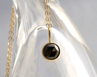 Sweet Little Rose Cut Black Diamond Pendant In 14k Yellow Gold