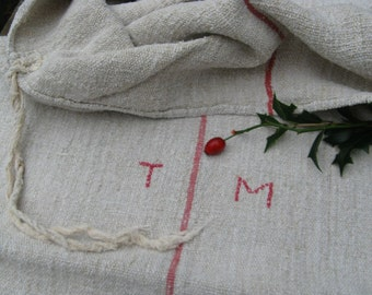 C 95 Grain Sack antique ROSE RED  pillow benchcushion 47.24 long wedding decoration