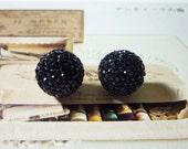 LAST PAIR - SALE - Black Shining Ball Stud Earrings