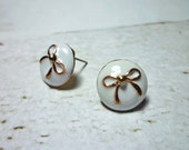 SALE - White Round with Bow Stud Earrings