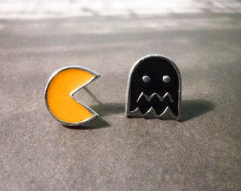 Pacman Stud Earrings / Pacman Dangle Earrings