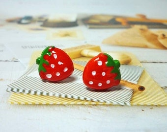 SALE - Petite Strawberry Stud Earrings