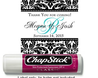 18 Personalized Wedding Damask  Chap Stick Labels with monogram