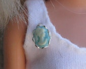 """Turquoise Cameo Doll Pin Brooch Doll Jewelry for most sized Fashiondolls 11 1/2"""" - 12 inch, 10 inch, 16 inch & Porcelain Dolls"""