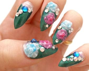 Japanese 3D nail, green, 3D flower nail, bling, nail swag, dope nail, gyaru, sexy nail, stiletto, pointy nail, deco nail, glue on nail