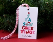 Seasons Greetings Stacked Snowman Personalized Christmas Tags or Package Labels (Qty. 10)