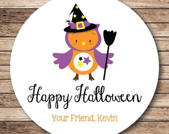 Halloween Witch Owl Happy Halloween Personalized Stickers, Labels or Tags