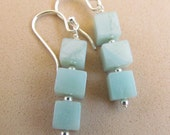 Amazonite Beaded Earrings, Cubes, Sterling Silver, Handmade by Harleypaws, SRAJD