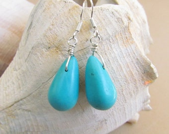 Turquoise Howlite Teardrop Earrings, Handcrafted by Harleypaws