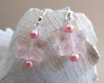 Pink Butterfly Earrings, Handmade by Harleypaws, SRAJD