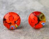 Red Glass Post Earrings, Glass Studs, Murano Glass Earrings, Millefiori Earrings