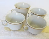 ViCoffee  Cups Vintage Restaurant Ware 4 Four White with Gold Shenango Sterling Cafe China Diner Dishes Heavy Mugs