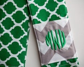 Camera Strap Cover- lens cap pocket and padding included- Monogrammed Green Quatrefoil/ Grey Chevron