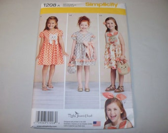 New Simplicity Girl's Dress  Pattern, 1208  (3,4,5,6,7,8) (Free US Shipping)