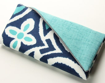 Blue Wallet, Ladies Wallet, Clutch Wallet, Womens Vegan Wallet, Aqua and Navy Wallet, Floral Print Wallet - Made to Order