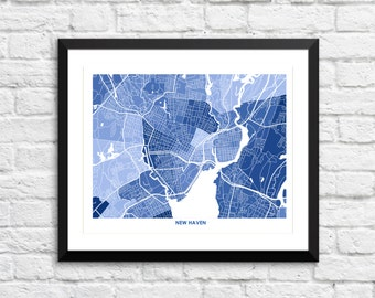 New Haven Map Print.  Choose the colors and size.  Perfect gift for your favorite Yale University Grad.  Connecticut Wall Art.