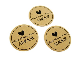 24 French Stickers - Fait Main Avec Amour