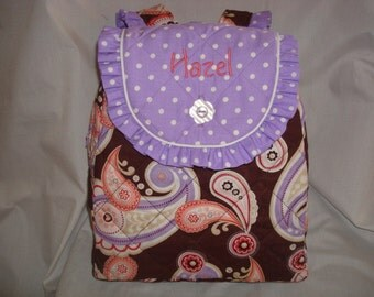 Child's Backpack in Brown and Pink Paisley with purple  accents