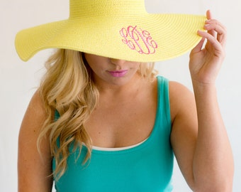 Personalized Sun Hat Large Floppy 8 Colors