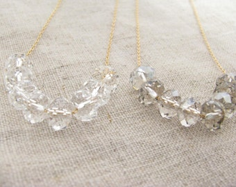 Carrie Necklace in Gold Fill Floating Clear or Shaded Swarovski Crystal