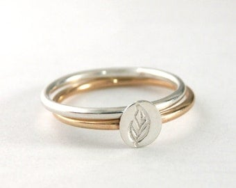 Gold Stack Ring, Stack Rings, Leaf Ring, Sterling Silver Band, Gold Filled Band, Set of 2 Stack Rings