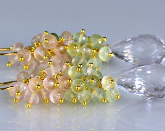 Multi Gemstone Cluster Earrings Wire Wrapped Earrings Rose Quartz Prehnite Rock Crystal 14k Gold Fill Long Cluster Earrings