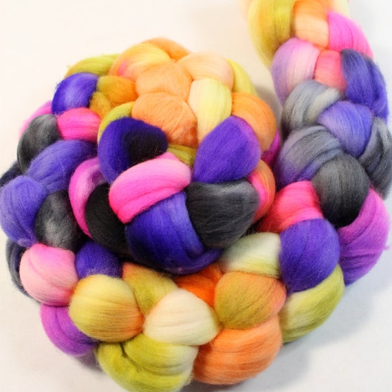Merino Wool Roving - Hand Painted - Hand Dyed for Spinning or Felting - 4oz - Color PLay #47