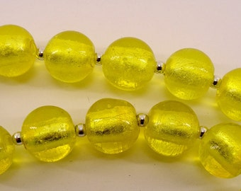 Round yellow glass beads- lampwork- silver foil interior- 16mm- 18 pcs