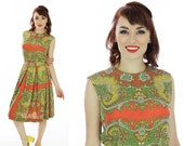 Vintage 60s Dress Paisley Full Circle Skirt Pin-up Retro Psychedelic Floral 1950s 60s Mad Men 1960s Party Medium M Small S