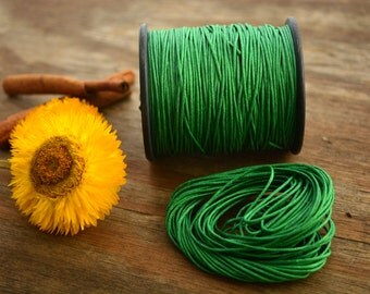 Emerald Green: Braided, Cotton Cord 1mm, 25ft (8.33 yards) / Jade thread / Perfect for Shamballa, DIY Supplies, Cotton Twine, Supplies