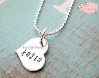 Personalized Hand Stamped Heart Shaped Name Necklace