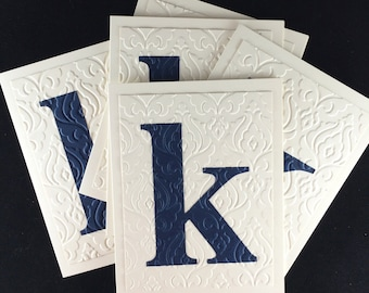 Embossed Personalized Stationery with Initial Navy and Cream Stationary by Lime Green Rhinestones