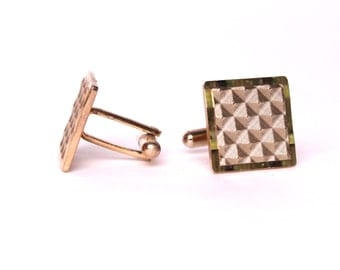 vintage 1950s gold square MOD cuff links mid century modern cufflinks mad men evening dress wedding gift prom party
