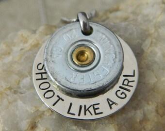 Shoot Like a Girl 20 gauge Bullet Necklace